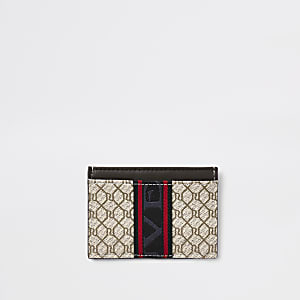 Ecru RI monogram card holder