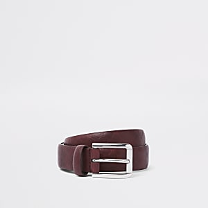 Burgundy RI monogram belt