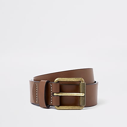 Tan contrast stitch buckle belt