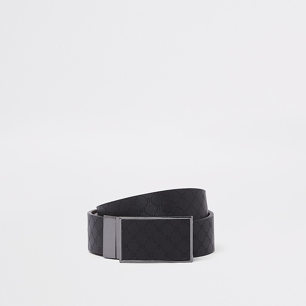 Black RI monogram reversible buckle belt