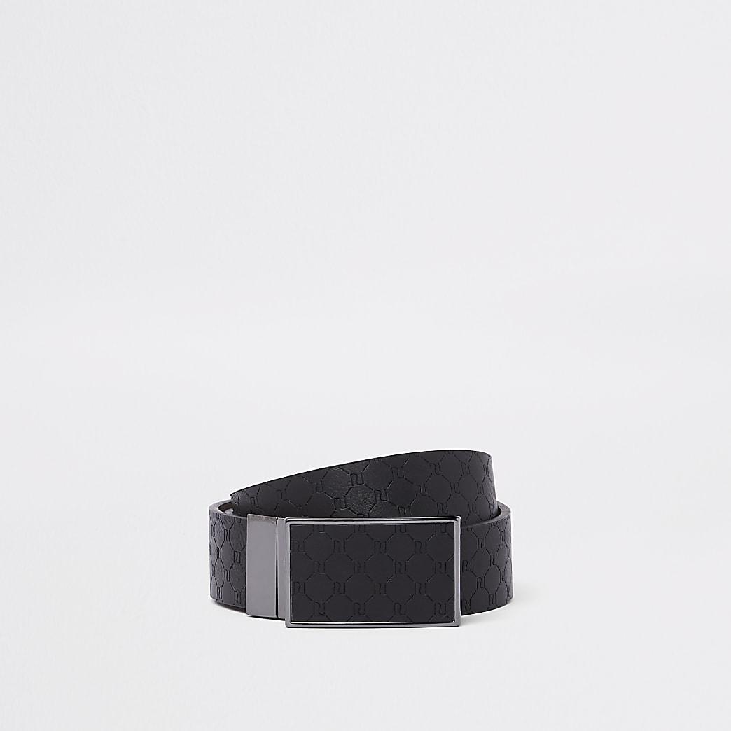 Black RI monogram reversible buckle belt