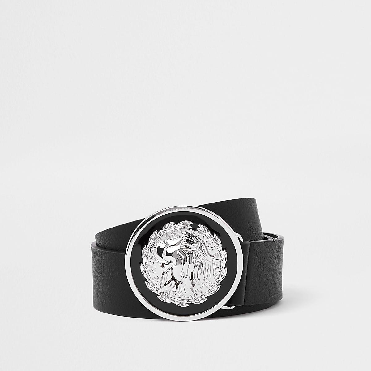 Black lion circle buckle belt
