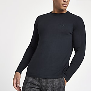 R96 navy slim fit crew neck jumper