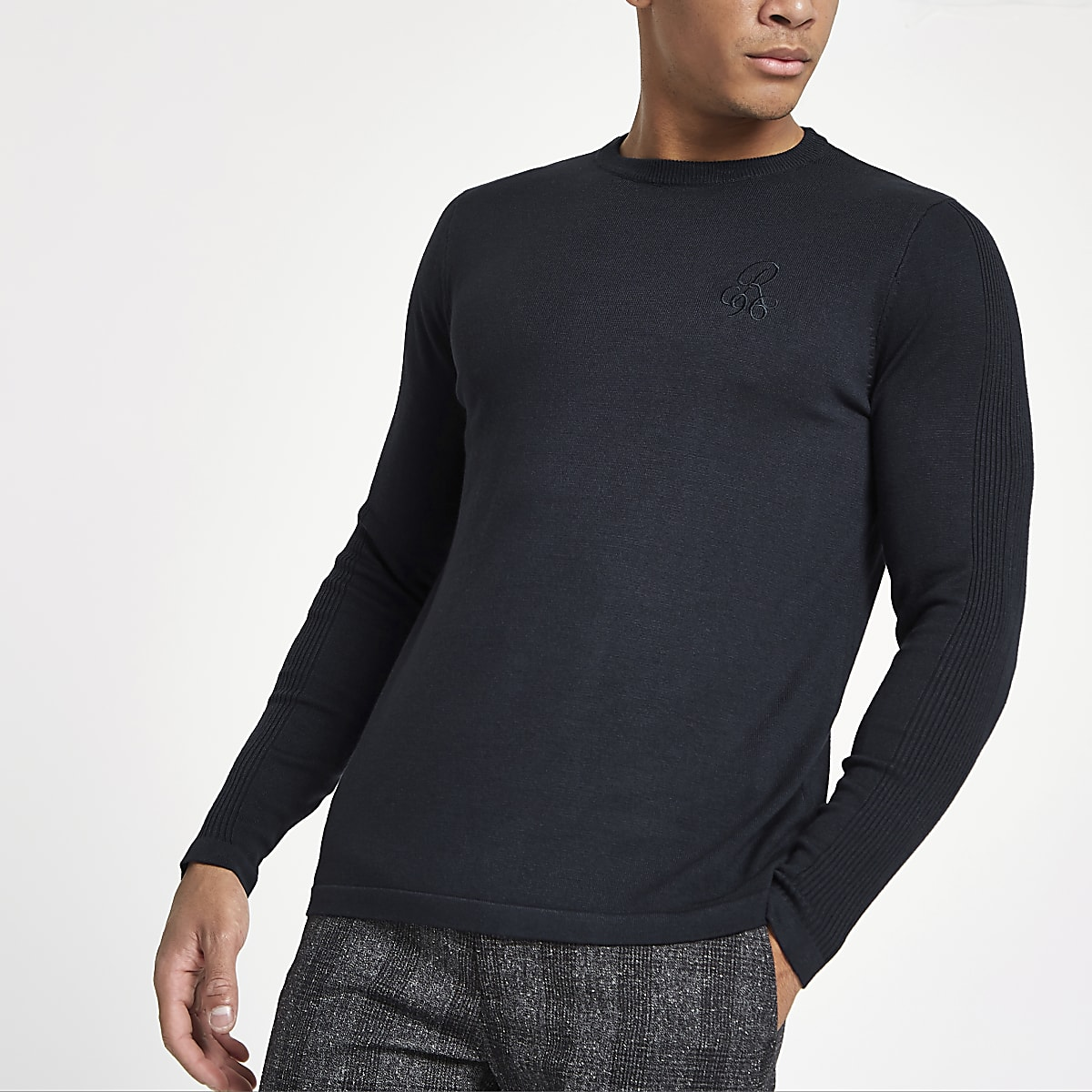 R96 navy slim fit crew neck sweater