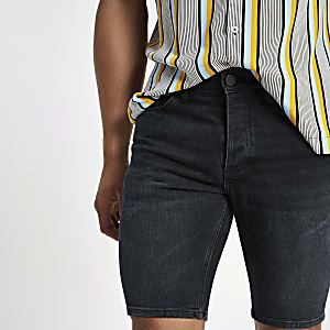 Dark blue skinny denim shorts