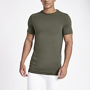 Grünes, langes Muscle Fit T-Shirt