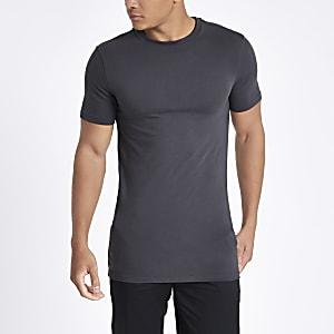 Graues, langes Muscle Fit T-Shirt