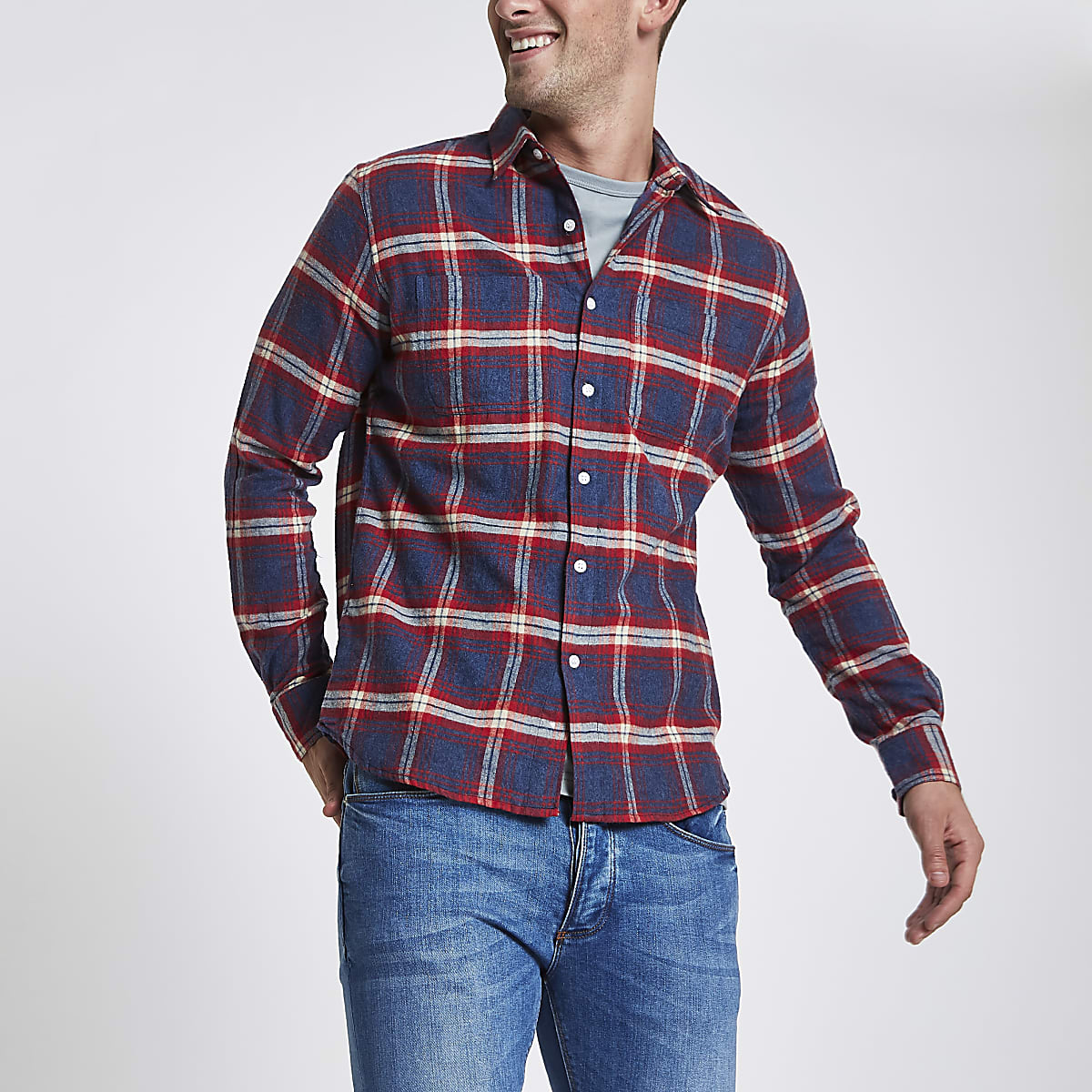 Bellfield red check print button-down shirt