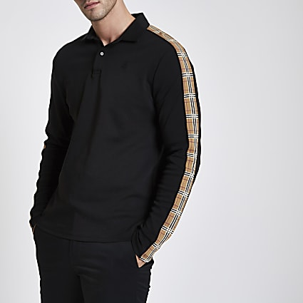 Black muscle fit long check sleeve polo shirt