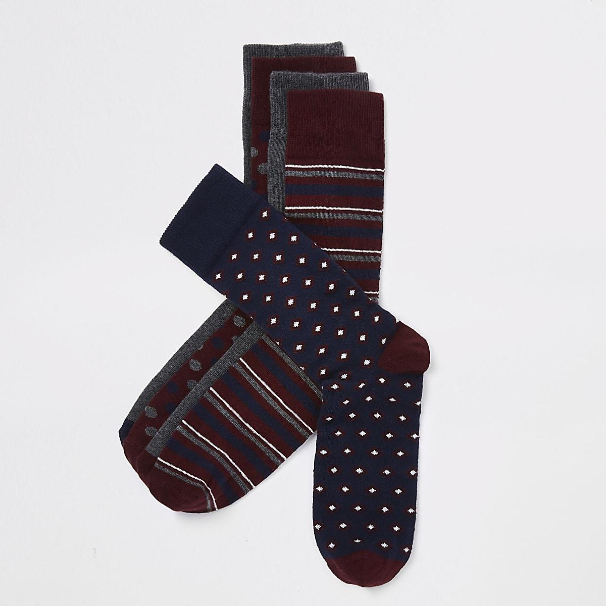 Dark red print smart socks multipack