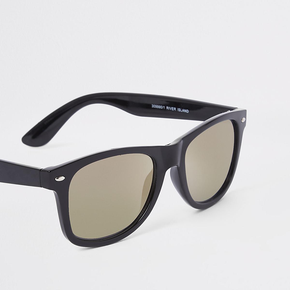 Gold Square Sunglasses Lens Retro Smoke Black QdeEoBWrCx