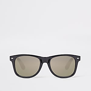 Black gold smoke lens retro square sunglasses