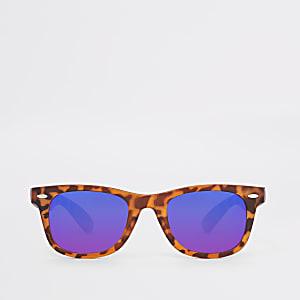 Braune, rechteckige Retro-Sonnenbrille aus Schildpatt