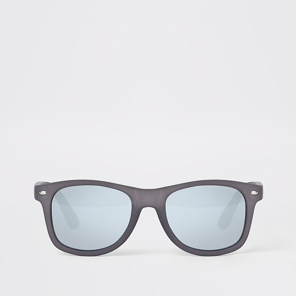 Grey rubberised retro square sunglasses
