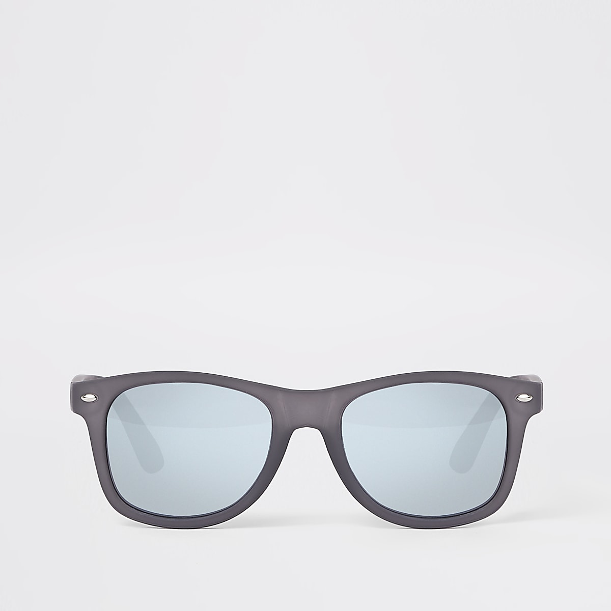 Grey rubberised retro square sunglasses