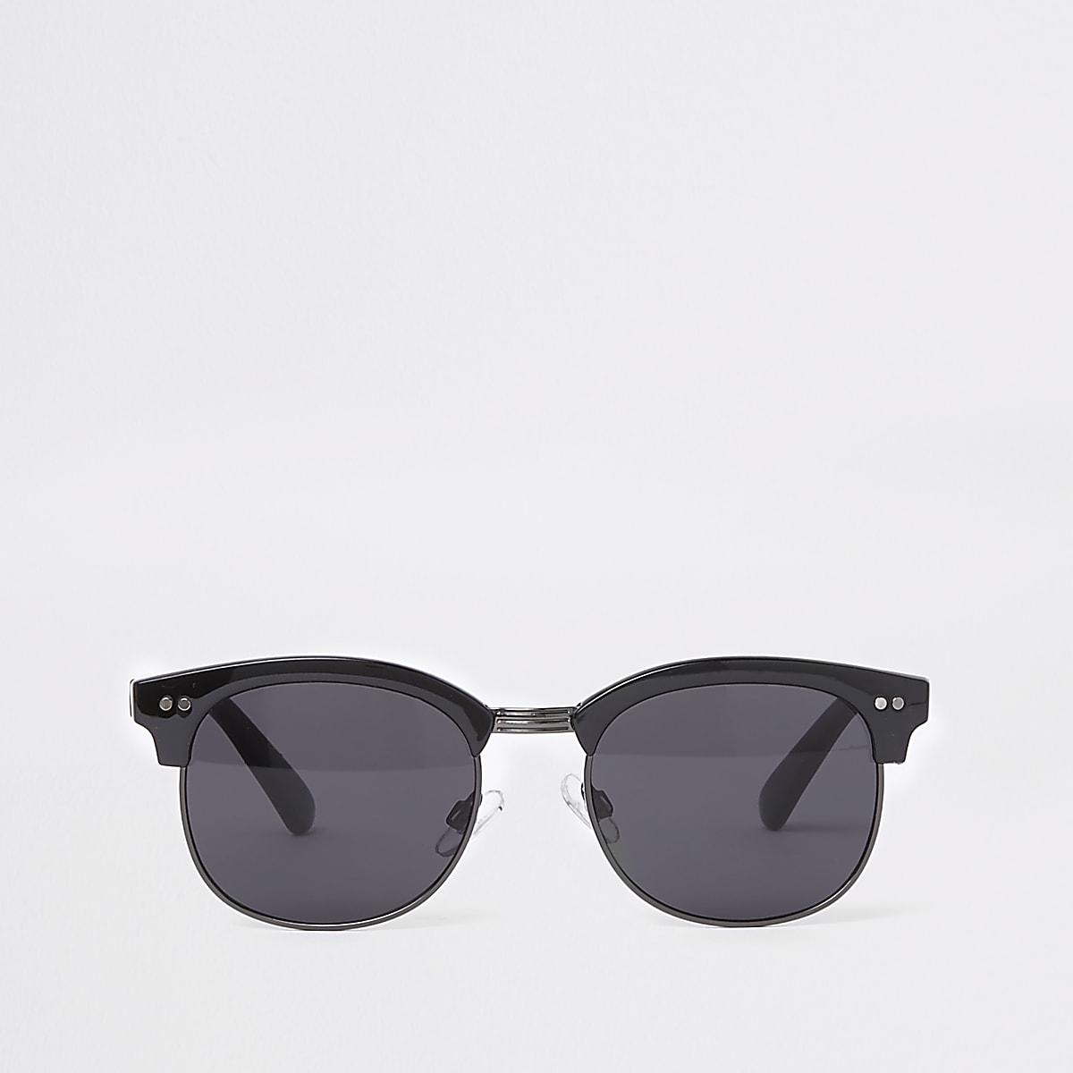 Black tinted lens retro frame sunglasses