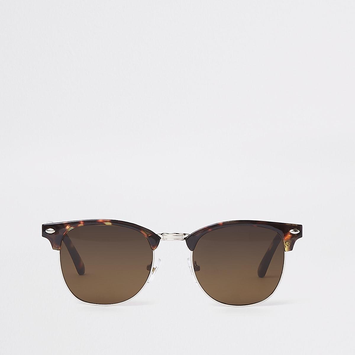 Brown half frame tortoiseshell sunglasses