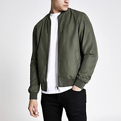 Khaki green bomber jacket