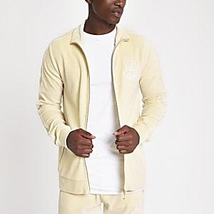 R96 ecru slim fit embroidered track jacket