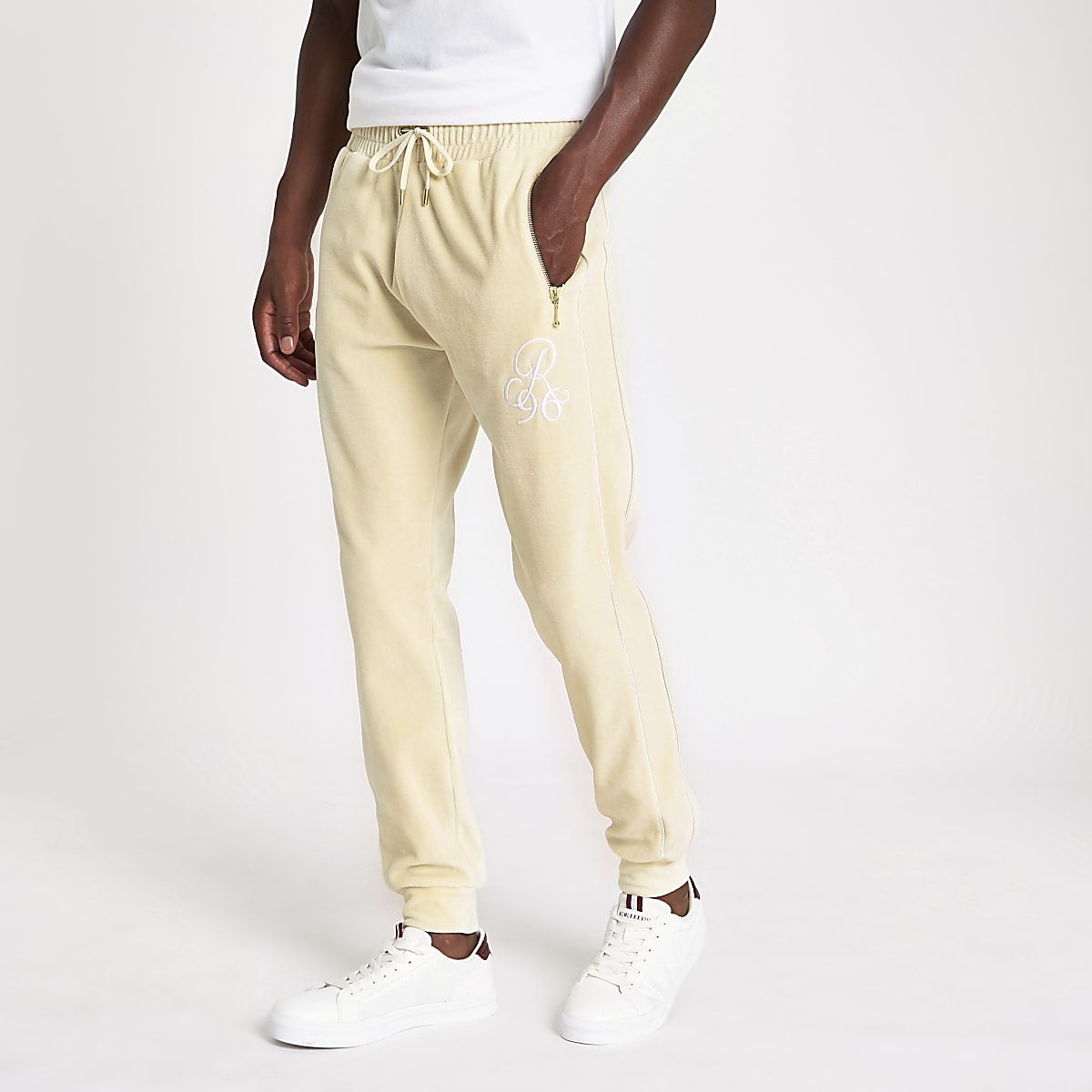 Ecru R96 slim fit embroidered joggers