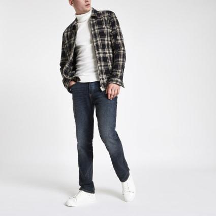 Dark blue straight leg Dean jeans