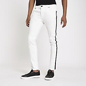 Sid – Jean skinny blanc avec bande latérale imprimée RI
