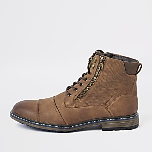 Brown lace-up military boots
