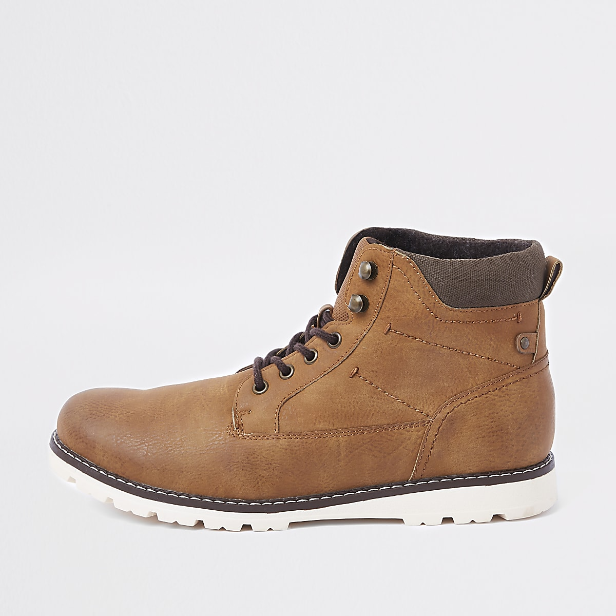 Brown hiking lace-up boots