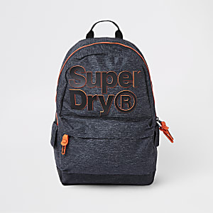 Superdry dark grey front logo backpack