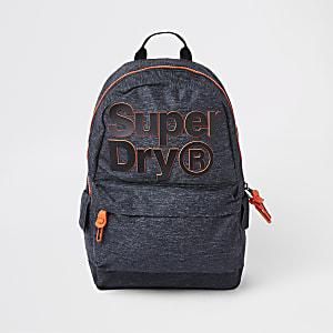 Superdry – Sac à dos gris foncé avec logo sur le devant
