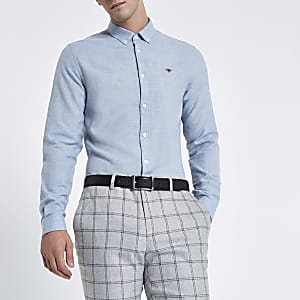 Hellblaues, langärmliges Flanellhemd