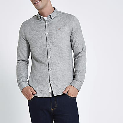 Grey herringbone wasp button-down shirt