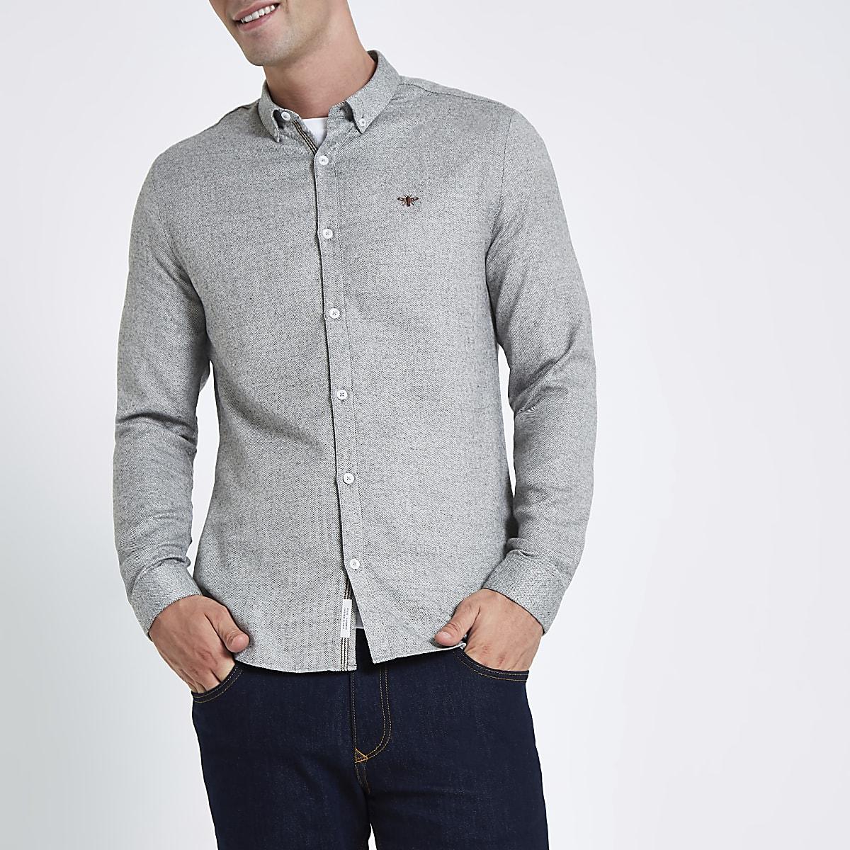 Grijs Overhemd Heren.Grijs Overhemd Met Visgraatmotief Wespenprint En Knopen
