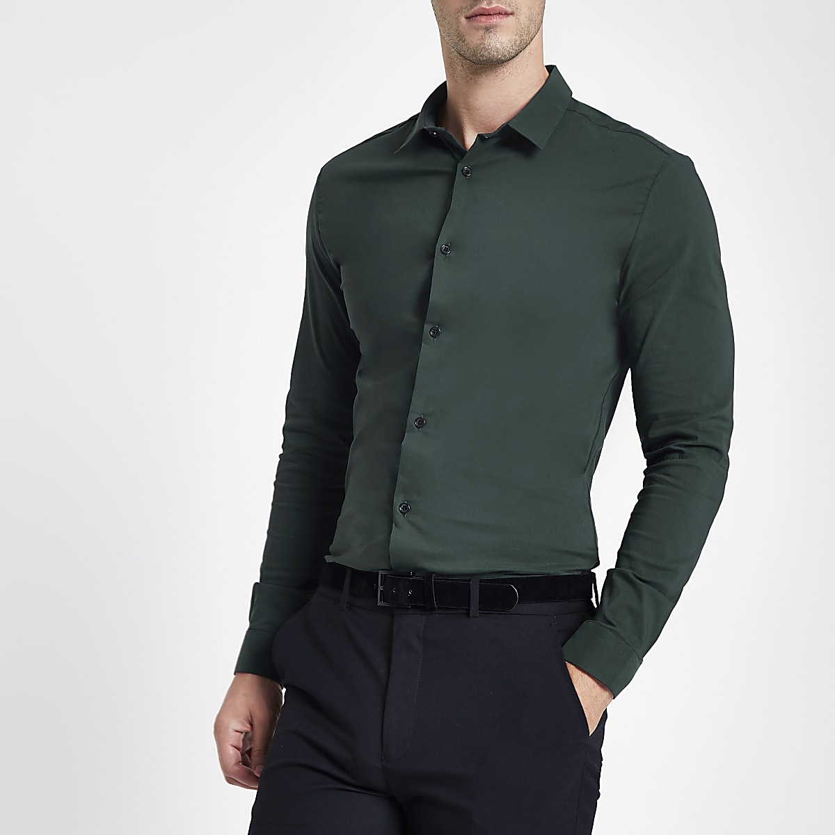 86eeb71a Dark green muscle fit shirt - Long Sleeve Shirts - Shirts - men
