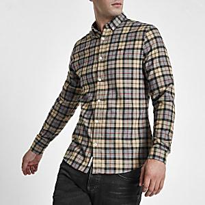 Chemise à carreaux grège avec broderie guêpe