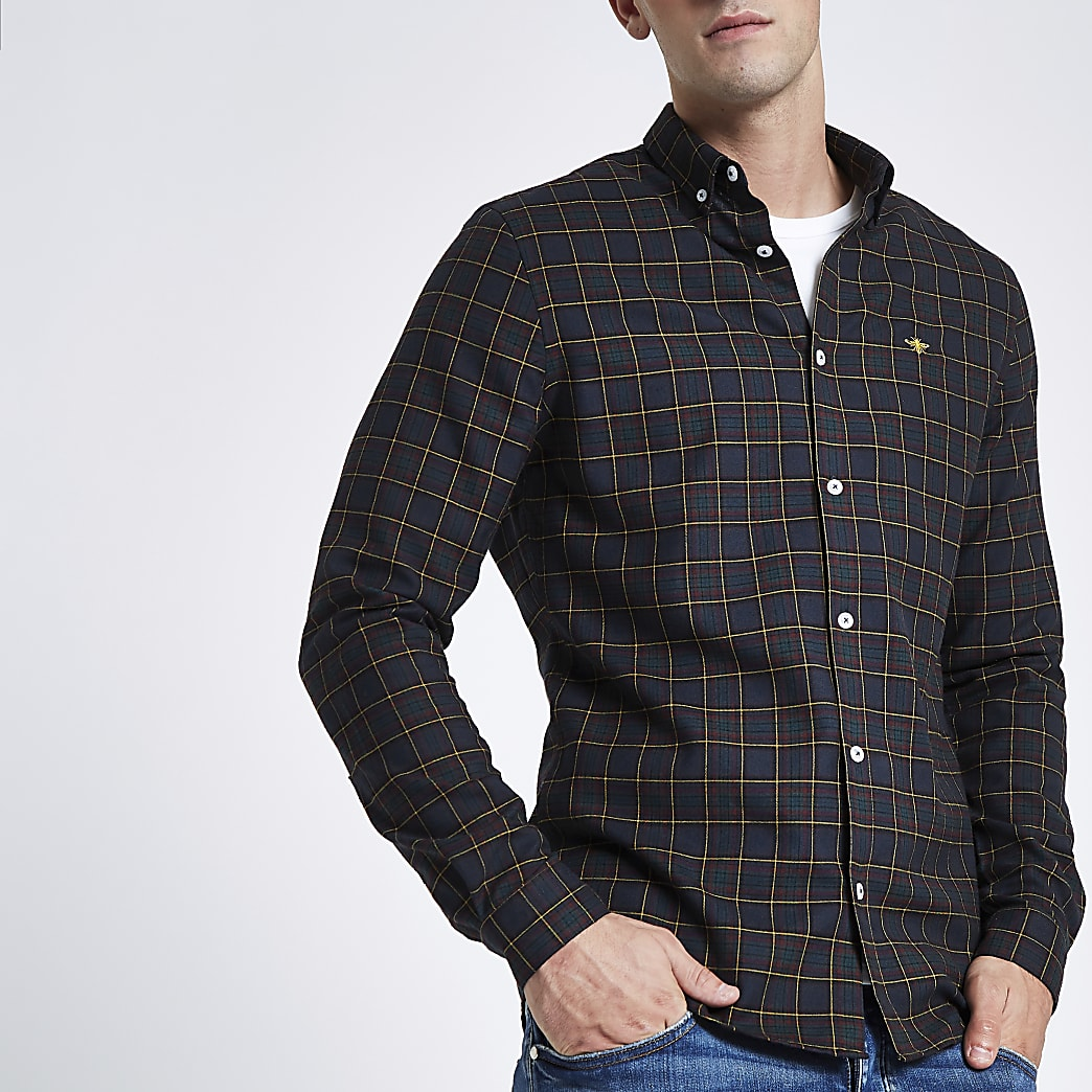 Navy wasp embroidered long sleeve check shirt