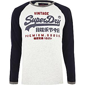 Superdry - Blauwe top met lange mouwen en 'Premium Goods'-print