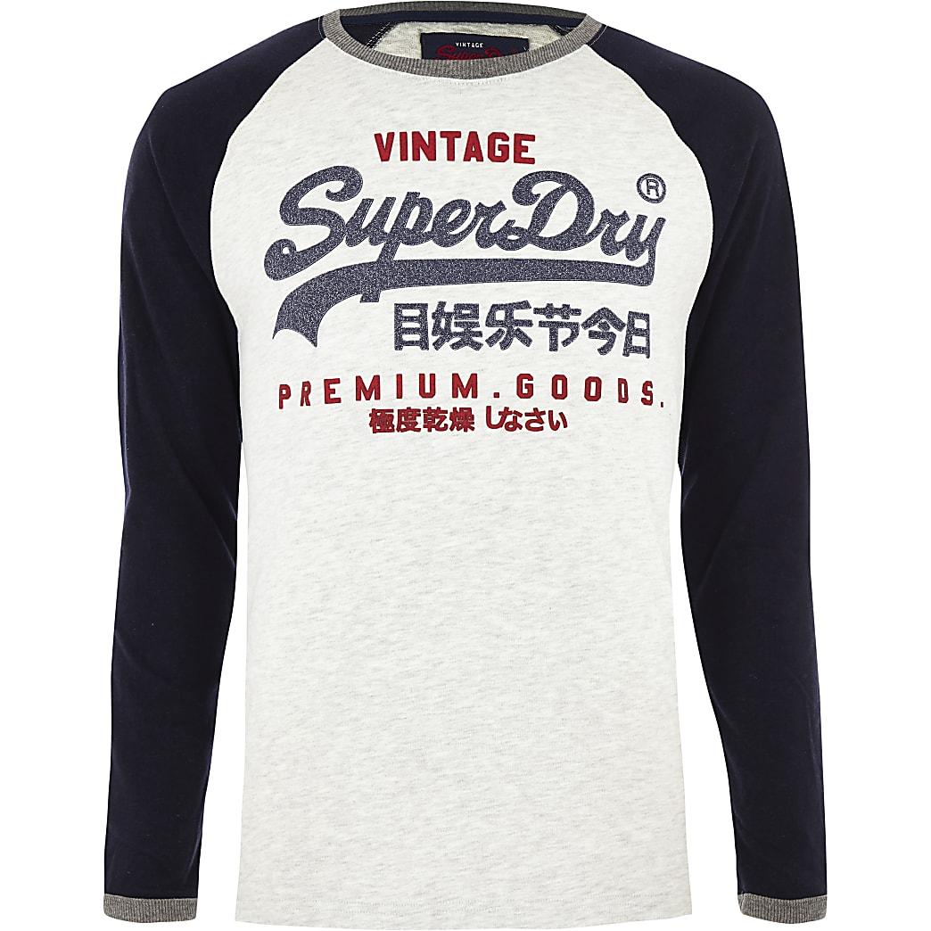 Superdry blue 'Premium Goods' long sleeve top