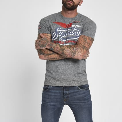 Superdry grey 'V8' T-shirt