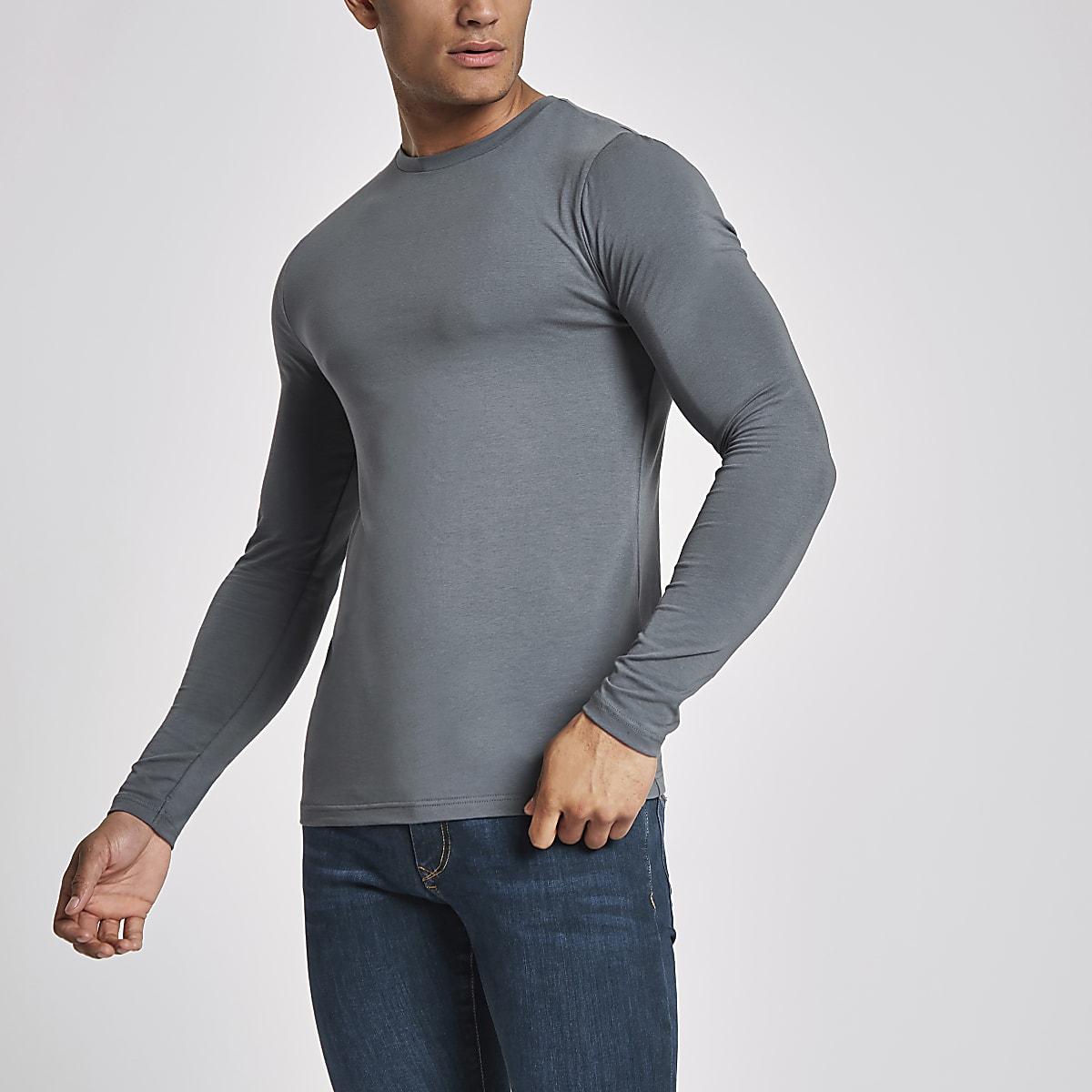 Donkergrijs aansluitend T-shirt met lange mouwen
