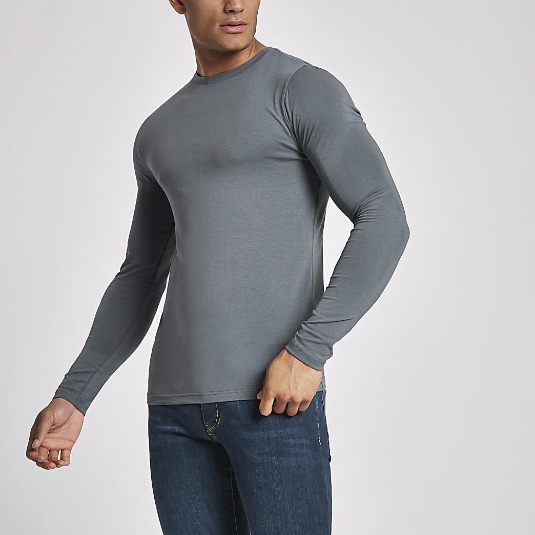 T-shirt ajusté gris foncé à manches longues