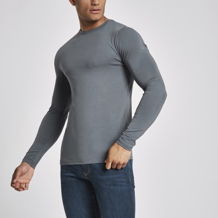 Dark grey muscle fit long sleeve T-shirt