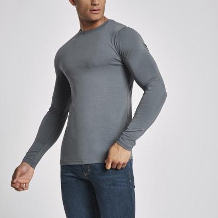 Dark grey muscle fit long sleeve T-shirt