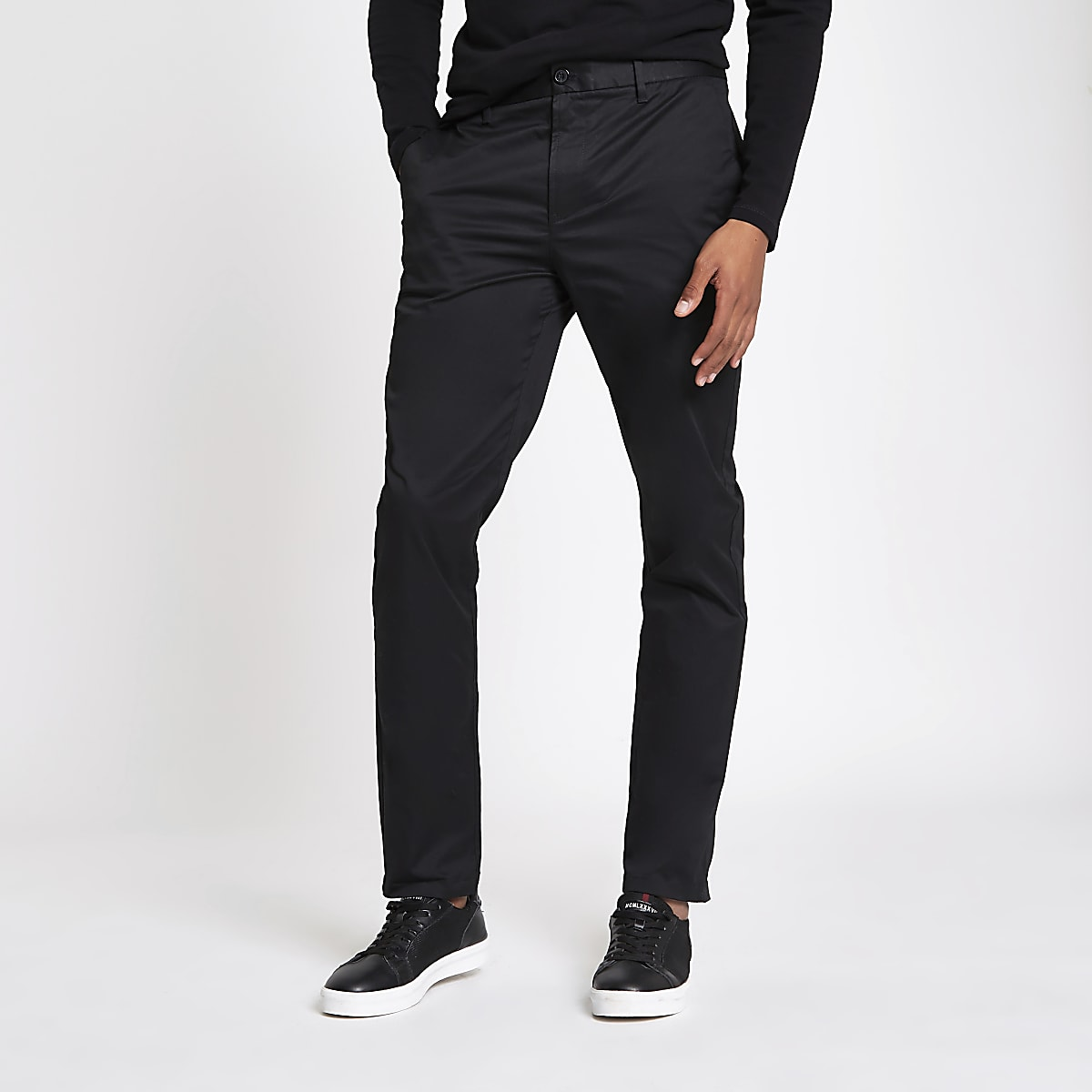 f3ee010c47ff75 Black slim fit chino trousers - Chinos - Trousers - men