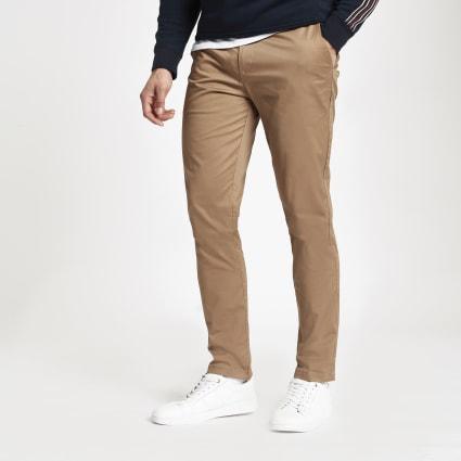 Tan slim fit chino trousers