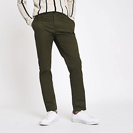 Khaki slim fit chino trousers