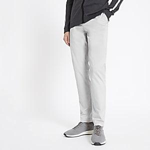 Sid - Lichtgrijze skinny-fit nette broek