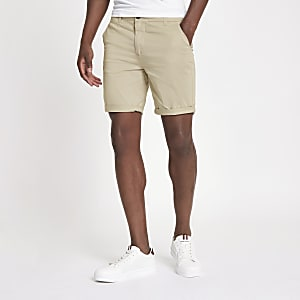 Light brown turn-up hem skinny fit shorts