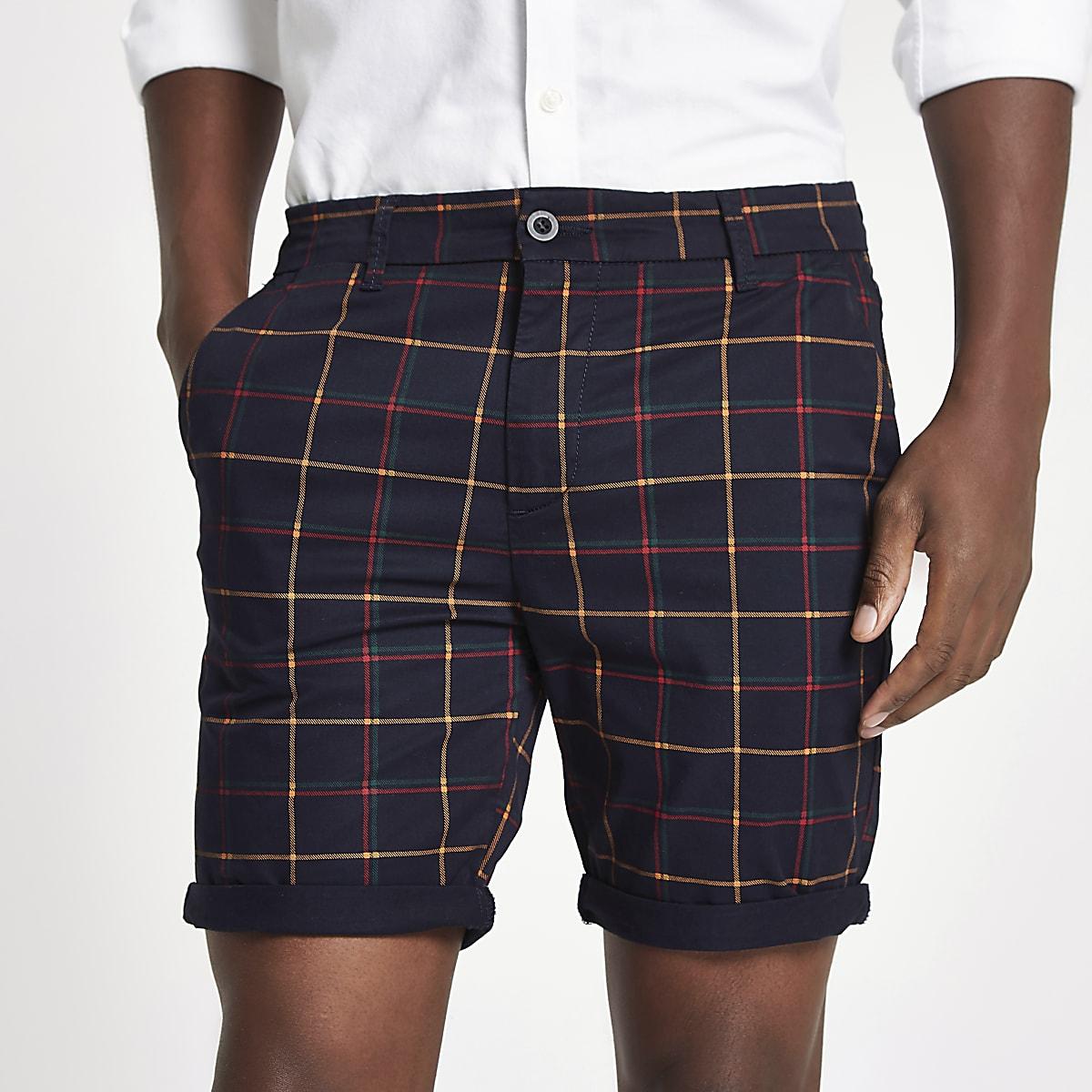 68a16e00412 Navy check turn-up hem skinny fit shorts - Smart Shorts - Shorts - men