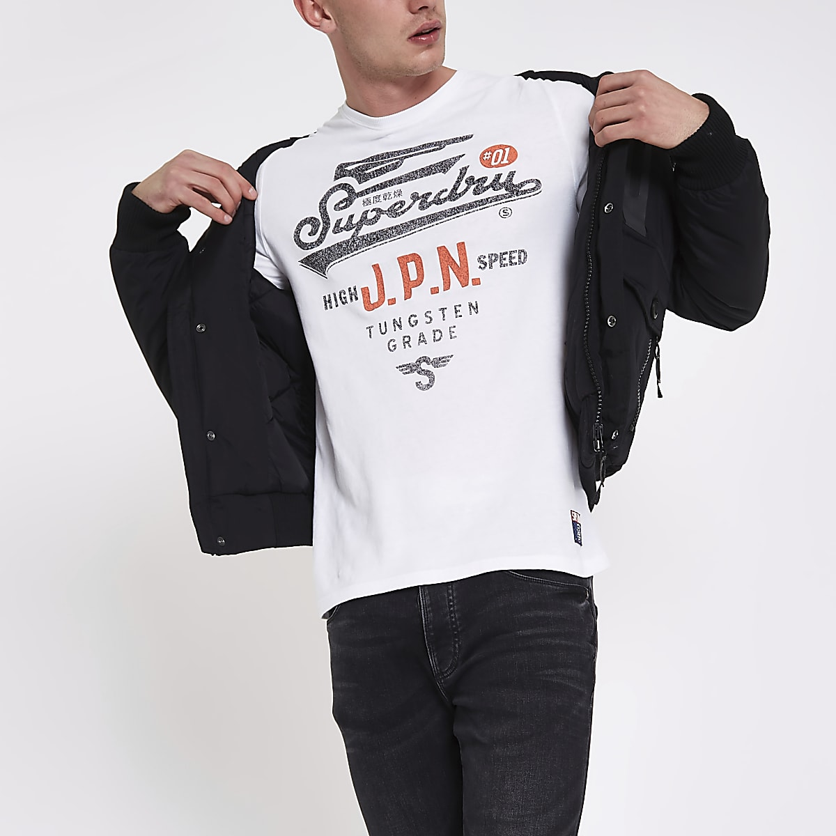 Superdry white vintage crew neck T-shirt